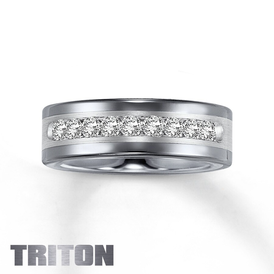 reginald watches inlay product satin finished tungsten triton diamond set wedding silver band diamonds by flat jewelry channel carbide tcw rings