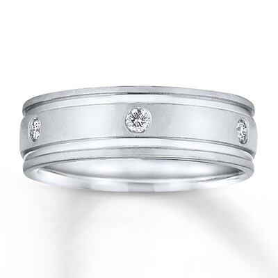 7mm Wedding Band 1/5 ct tw Diamonds 14K White Gold