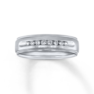 6mm Wedding Band 1/4 ct tw Diamonds 14K White Gold