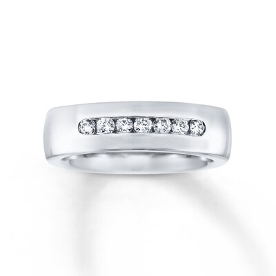 6mm Wedding Band 1/3 ct tw Diamonds 14K White Gold