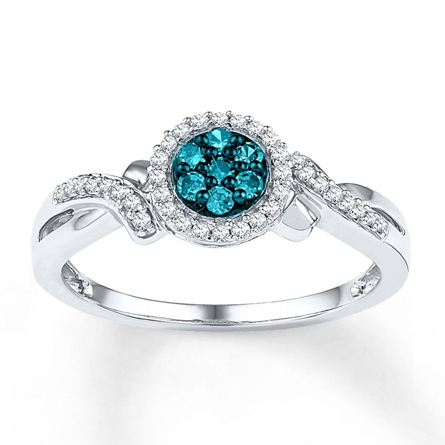 Jared Blue Diamond Ring 1 4 ct tw Round cut 10K White Gold