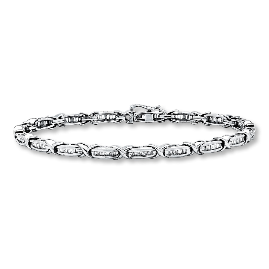 10k White Gold 1 Carat T W Diamond Bracelet Tap To Expand