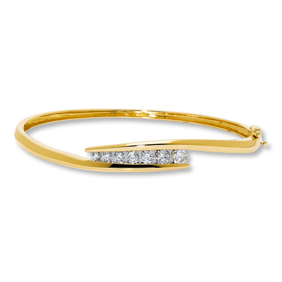 Diamond Bangle Bracelet 1 ct tw Round-cut 14K Yellow Gold ...