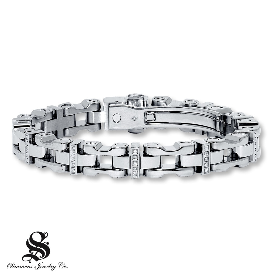 Jared Mens Diamond Bracelet 14 ct tw Roundcut Stainless Steel