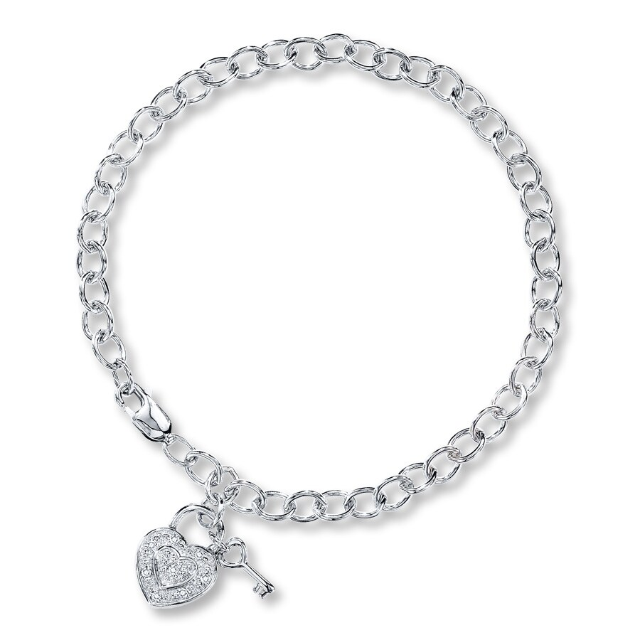 Diamond Heart Bracelet Accents Sterling Silver