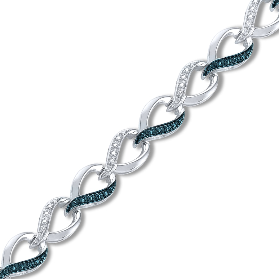 Blue White Diamonds Bracelet Sterling Silver Tap To Expand