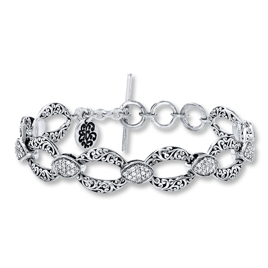 Jared Lois Hill Link Bracelet 1 ct tw Diamonds Sterling Silver