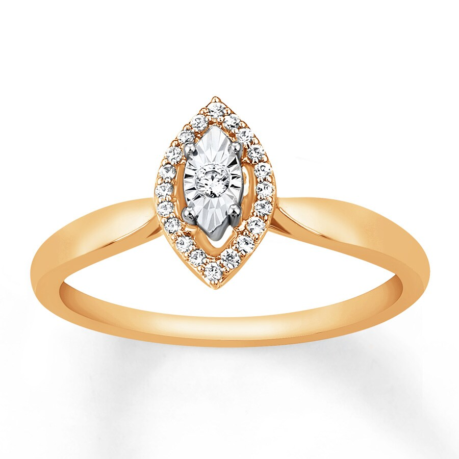 Jared Diamond Promise Ring 1 10 ct tw Round cut 10K Yellow Gold
