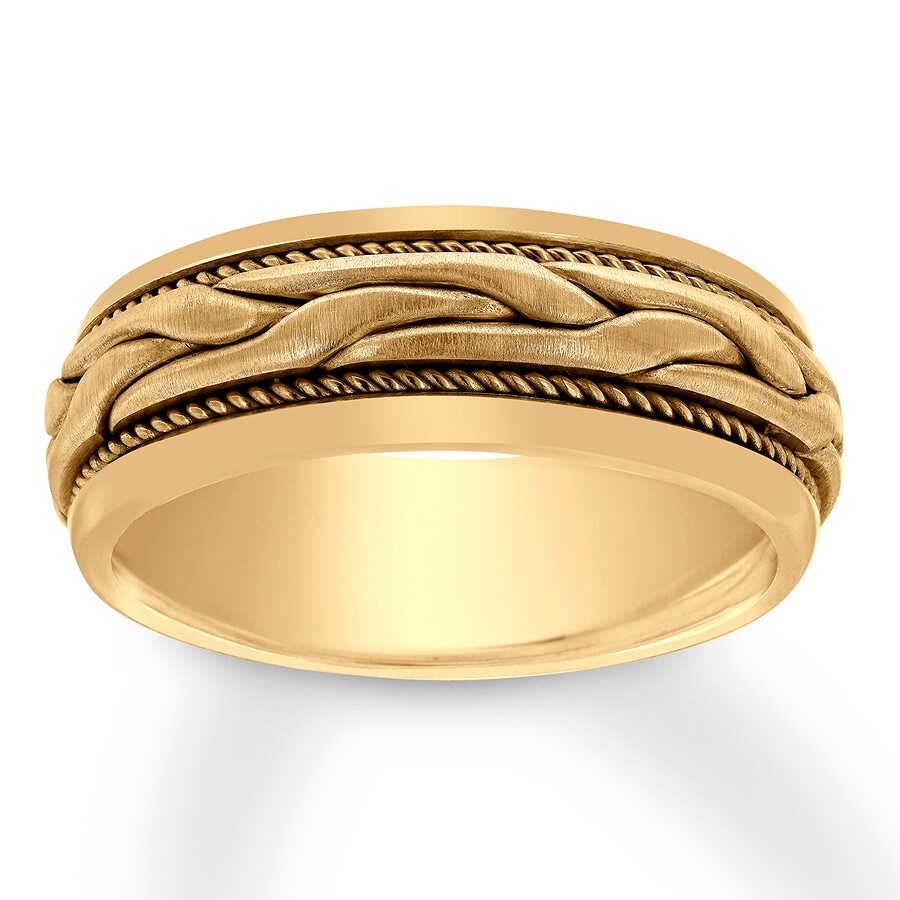 Jared men39s wedding band 14k yellow gold 8mm for Jared mens wedding rings