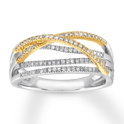 Diamond Ring 1/4 cttw Round-cut Sterling Silver/10K Yellow Gold