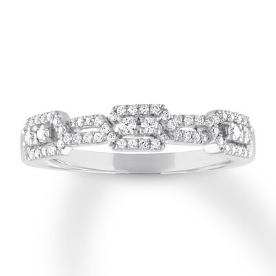 Diamond Anniversary Ring 1/4 ct tw Round 10K White Gold