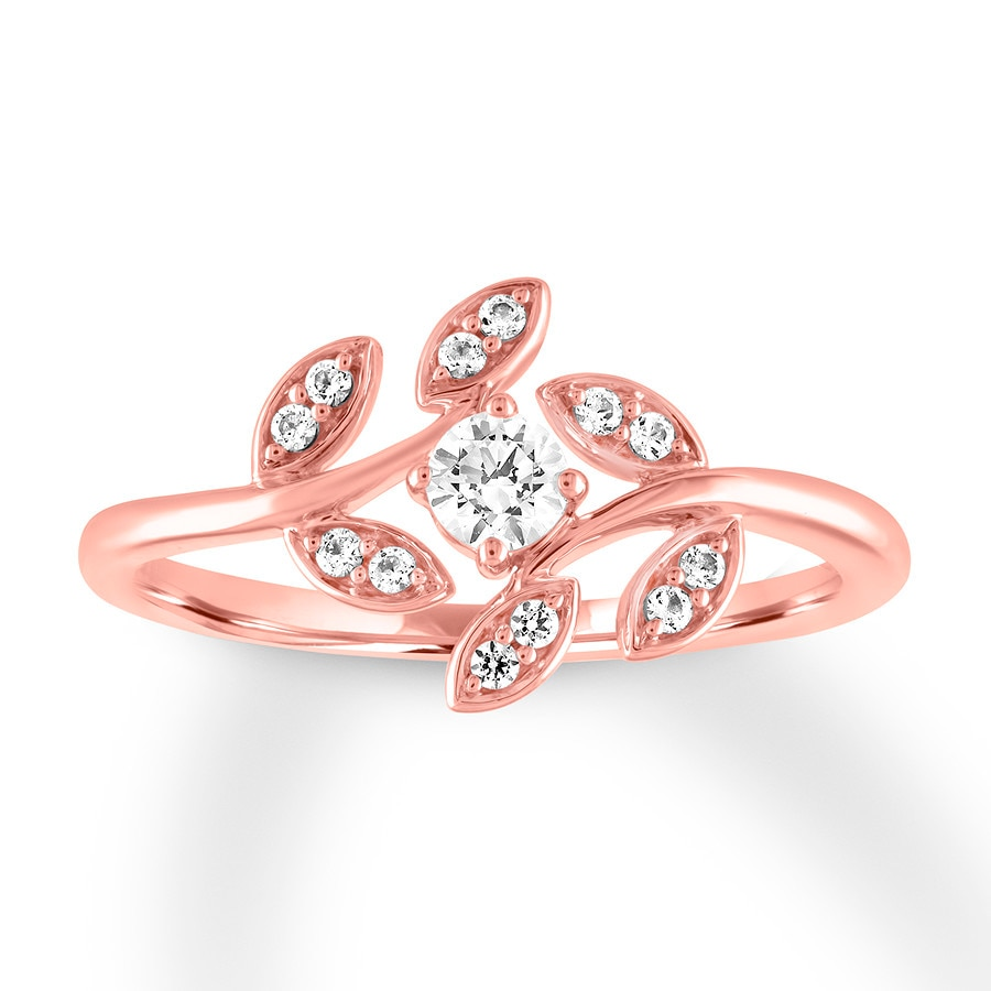 Diamond Floral Ring 1/4 carat tw Round 10K Rose Gold - 120960303 - Jared