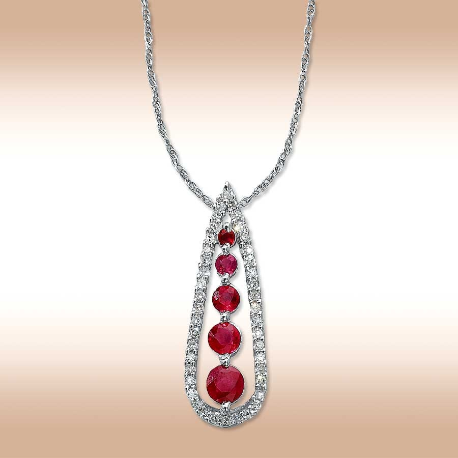 jared 10k white gold diamond and natural ruby necklace