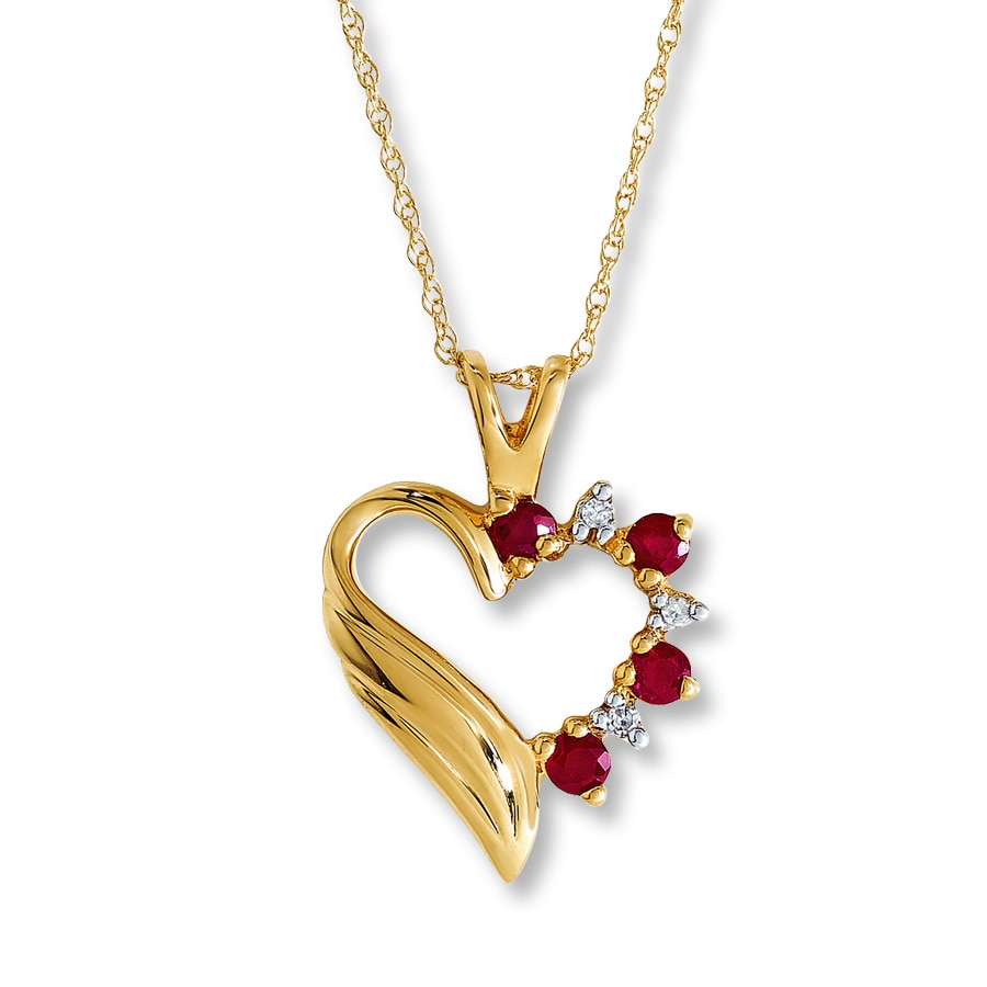 Jared ruby heart necklace diamond accents 10k yellow gold ruby heart necklace diamond accents 10k yellow gold aloadofball Image collections