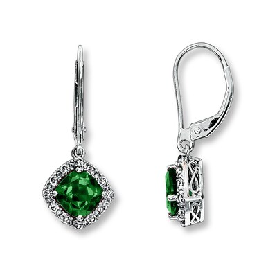 Jared Lab-Created Emerald Earrings 10K White Gold- Drop