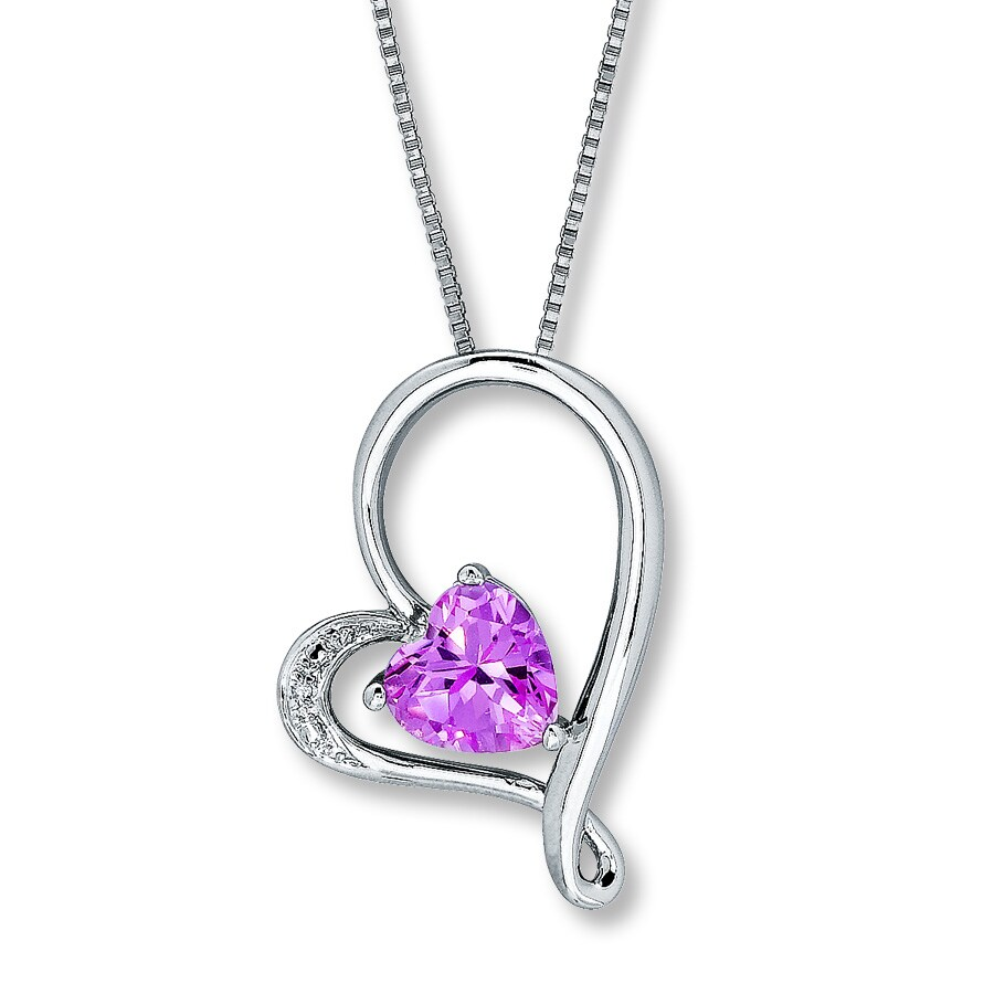 jared heart necklace labcreated pink sapphire sterling