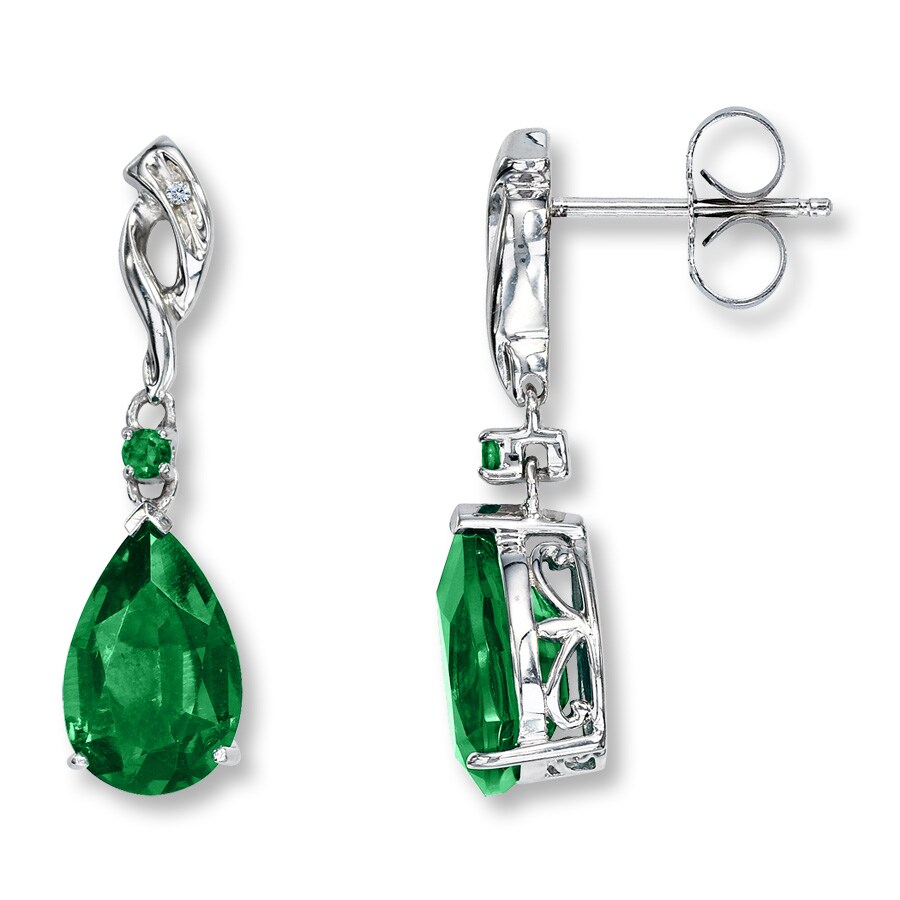 white created with diamonds emerald earrings stud lab yellow gold grown in