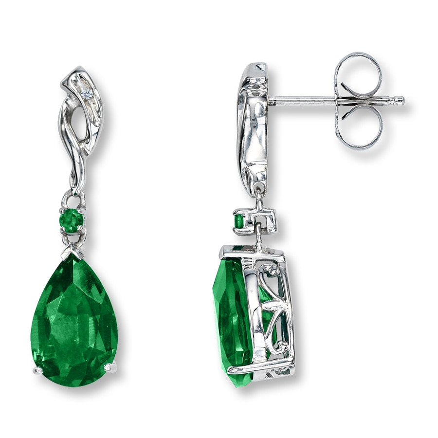 Lab Created Emerald Earrings With Diamonds Sterling Silver