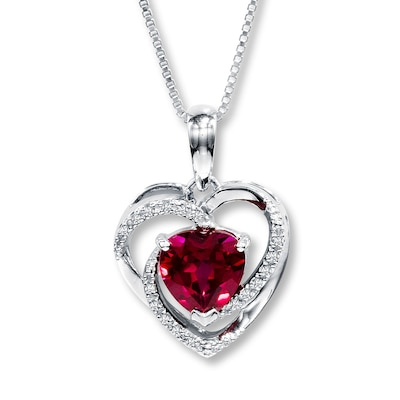 Jared Lab-Created Ruby Necklace Heart-Shaped 10K White Gold- Fashion