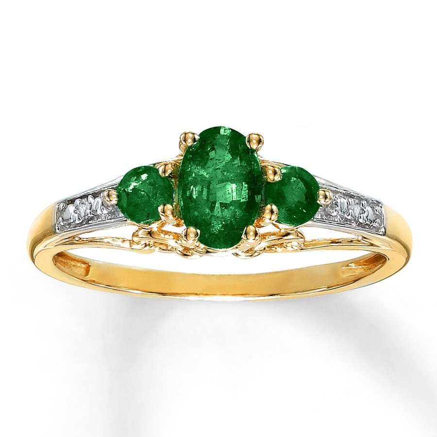 jared emerald ring accents 10k yellow gold