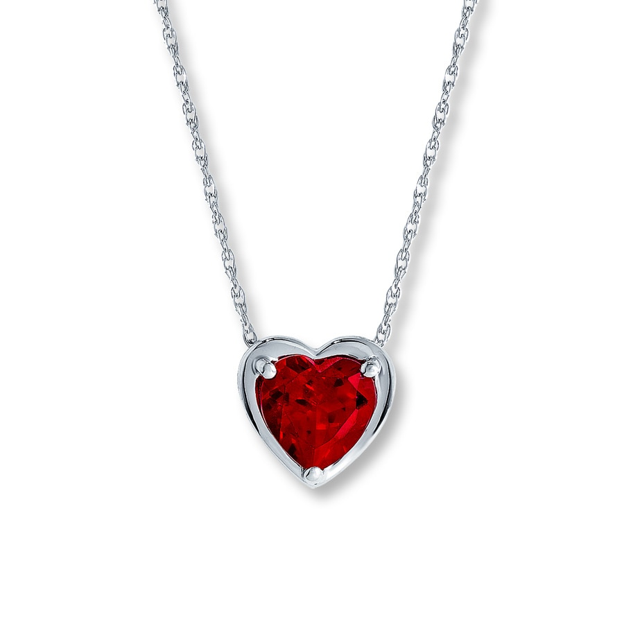 jared lab created ruby necklace shaped 10k white gold