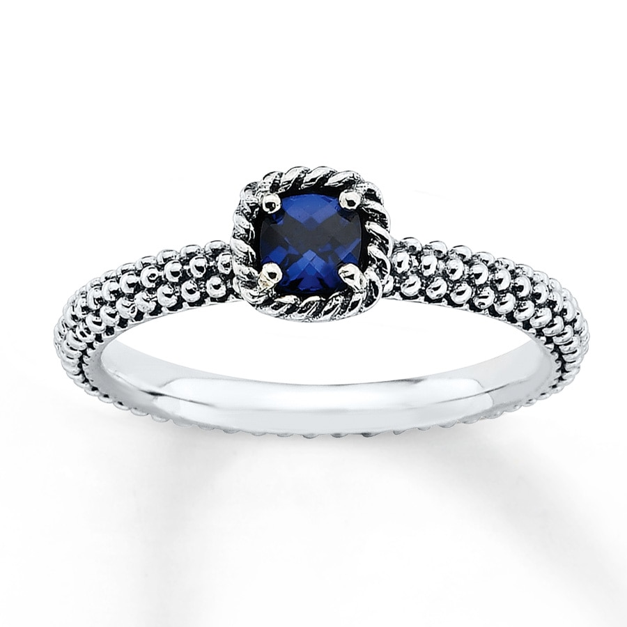 Jared Stackable Ring Lab Created Sapphire Sterling Silver