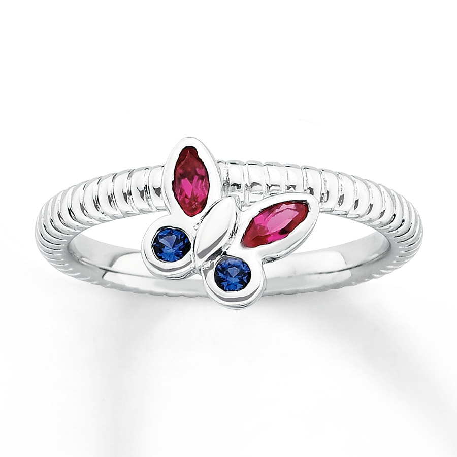Jared Stackable Butterfly Ring Lab Created Gemstones Sterling Silver