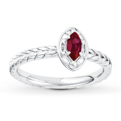 Jared Stackable Ring Lab-Created Ruby Sterling Silver- Fashion