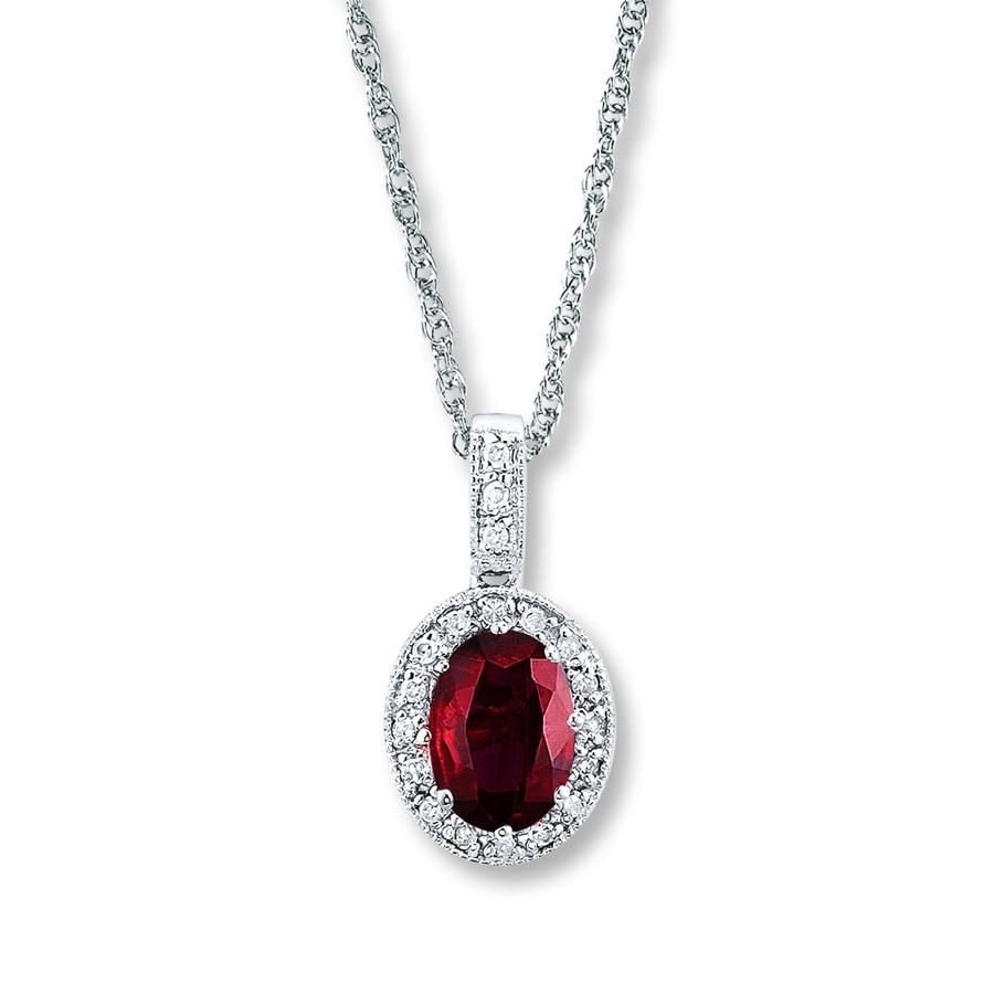 jared natural ruby necklace 1 15 ct tw diamonds 14k