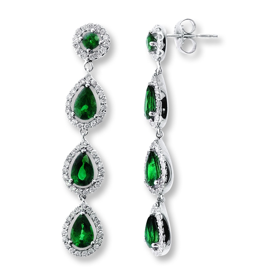 Jared Natural Emerald Earrings 78 ct tw Diamonds 14K White Gold