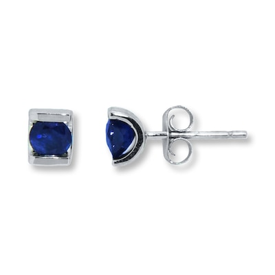 Jared Natural Sapphire Earrings 10K White Gold- Stud