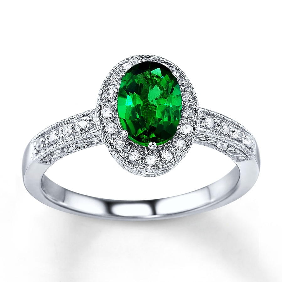 jared emerald ring 1 10 ct tw diamonds 14k white
