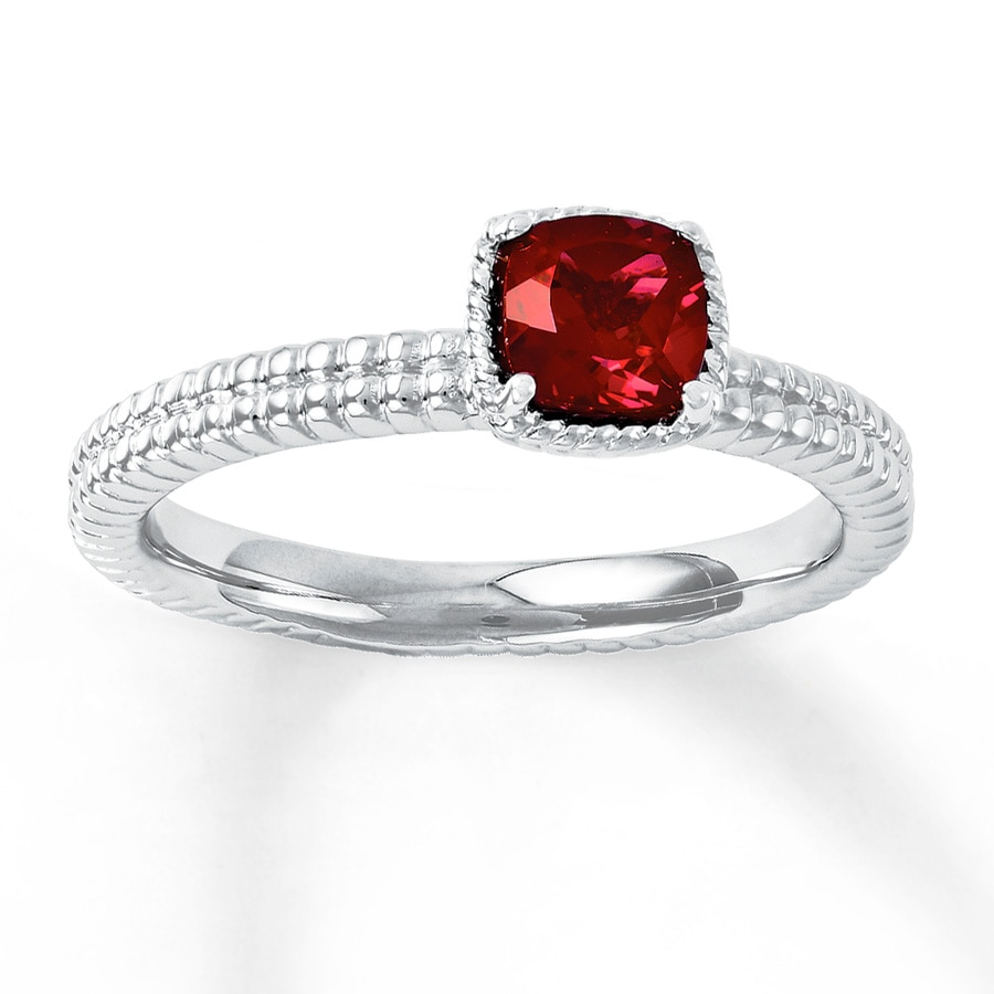Jared Stackable Ring Lab Created Ruby Sterling Silver