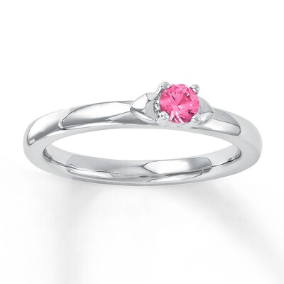 Jared Stackable Heart Ring Lab-Created Pink Sapphire Sterling Silver- Fashion