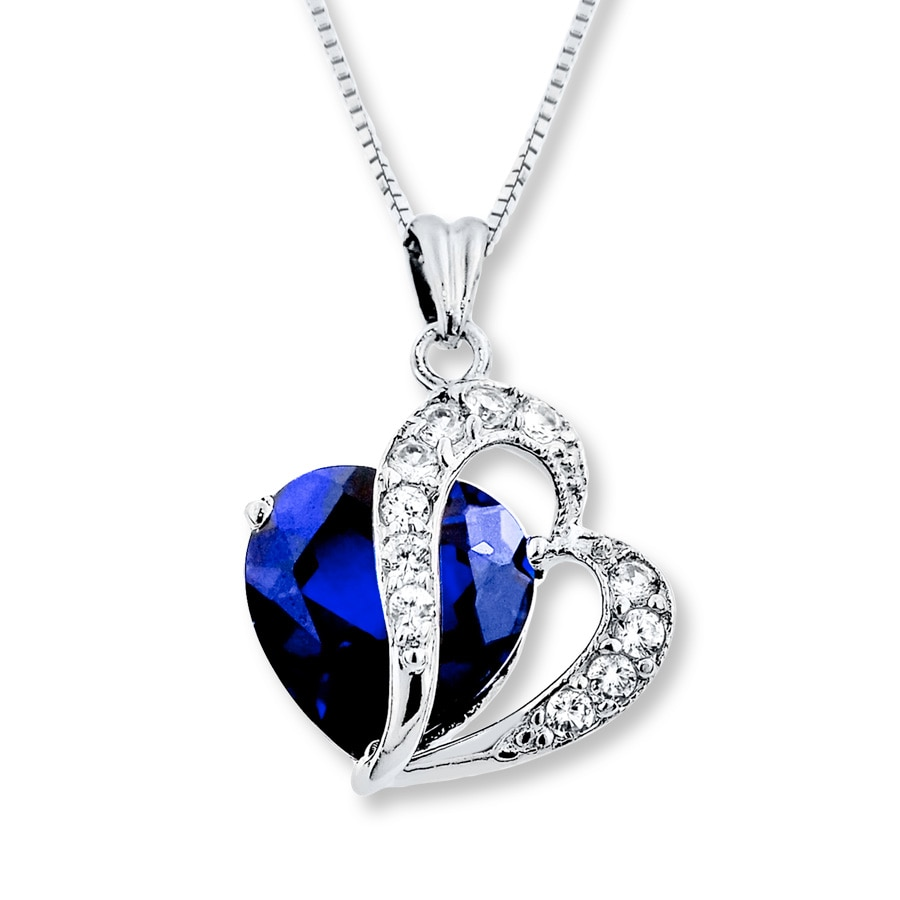 blue  u0026 white lab-created sapphire sterling silver necklace - 133739502
