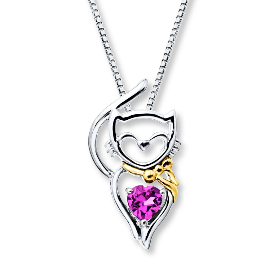 Jared Cat Necklace LabCreated Sapphire Sterling Silver10K Gold
