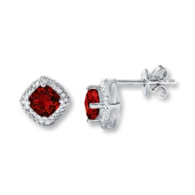 Jared Lab-Created Rubies Diamond Accents Sterling Silver Earrings- Stud