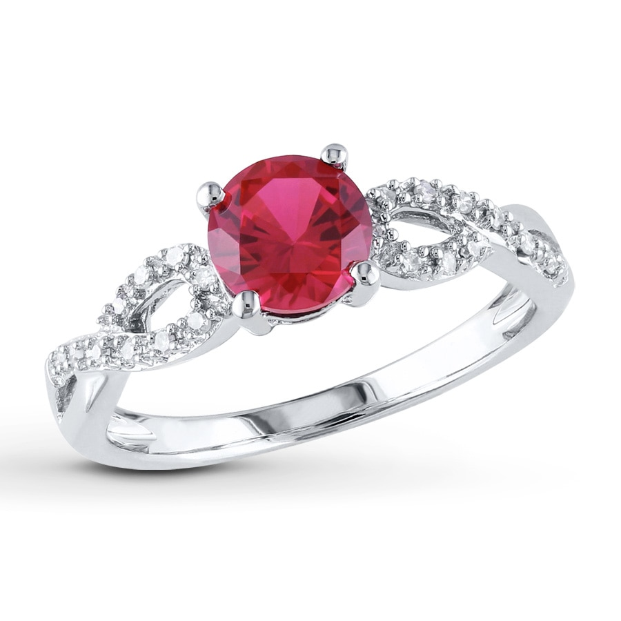 Lab-Created Ruby Ring 1/15 ct tw Diamonds 10K White Gold ...
