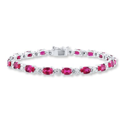 Lab-Created Ruby Bracelet Diamond Accents Sterling Silver