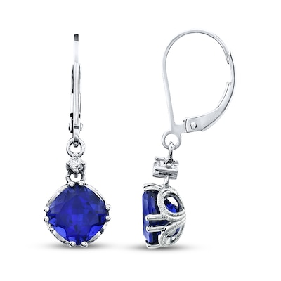 Jared Lab-Created Sapphire Earrings Sterling Silver- Drop