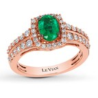 Le Vian Emerald Ring 1/2 ct tw Diamonds 14K Strawberry Gold