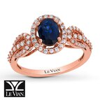 Le Vian Sapphire Ring 3/8 ct tw Diamonds 14K Strawberry Gold