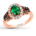 Le Vian Emerald Ring 3/8 ct tw Diamonds 14K Strawberry Gold