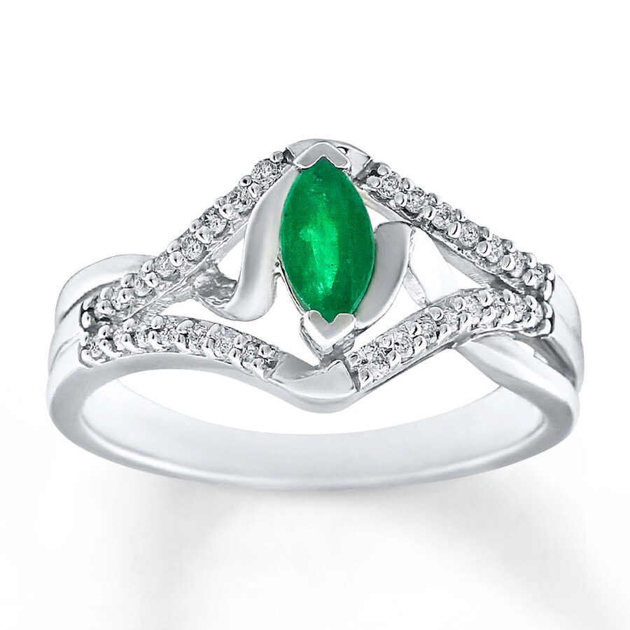 Jared Natural Emerald Ring 1 6 ct tw Diamonds 10K White Gold