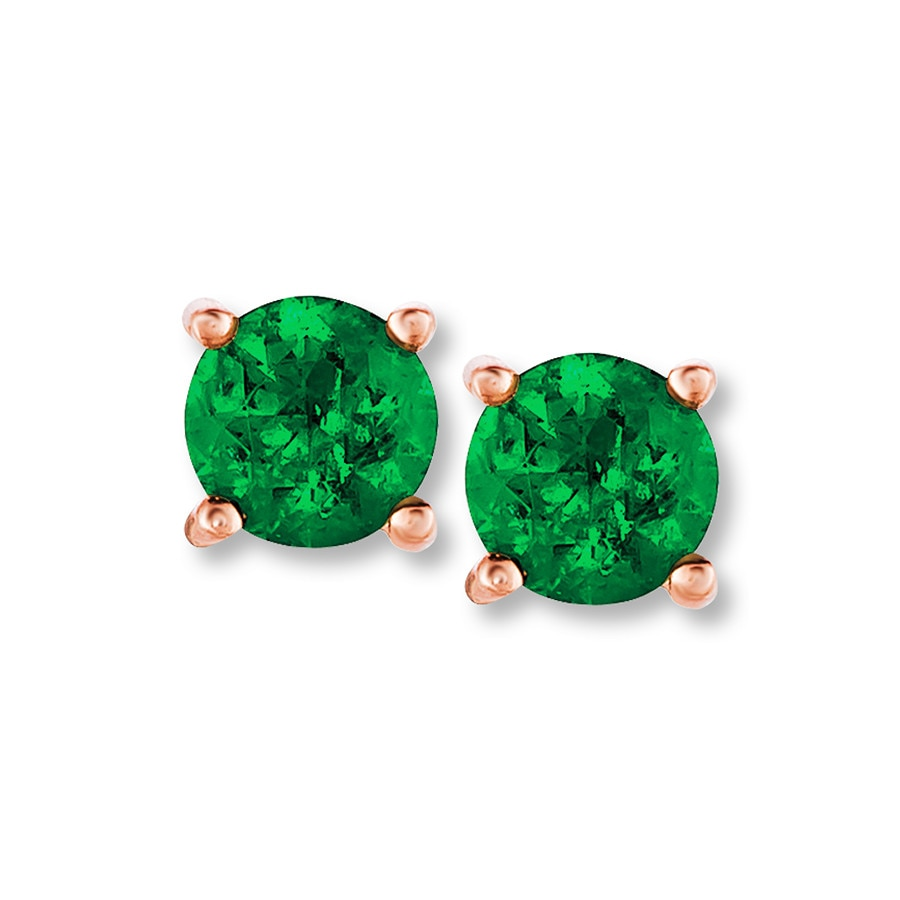 Jared Le Vian Earrings Natural Emerald 14K Strawberry Gold