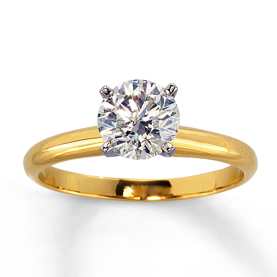 Diamond Solitaire Ring 1 Carat Round 14K Yellow Gold
