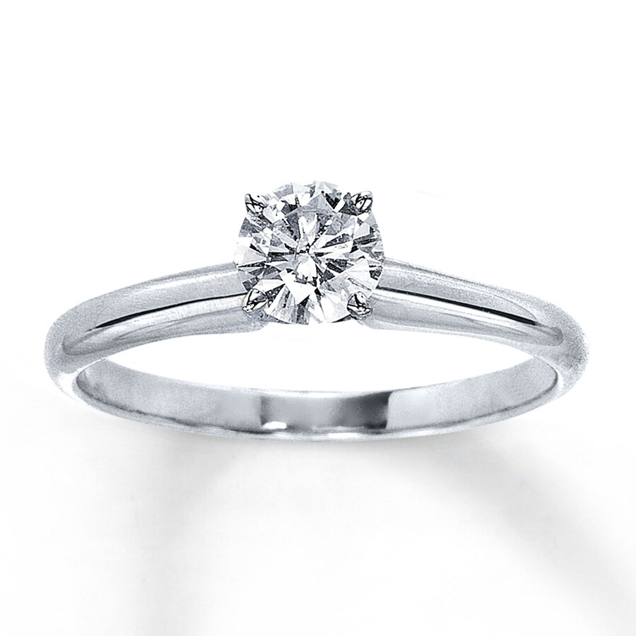 Diamond Solitaire Ring 1 2 carat Round-cut 14K White Gold ... aa3c527b50df2