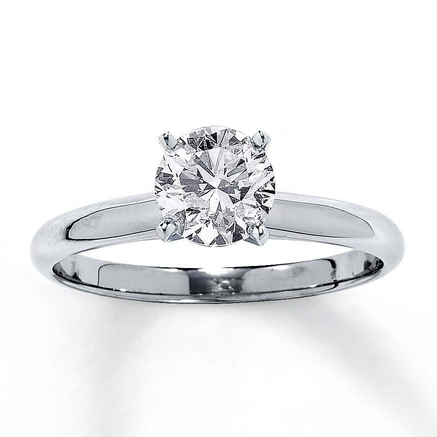 Diamond Solitaire Ring 1 Carat Roundcut 14k White Gold