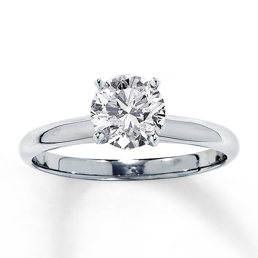 Jared Diamond Solitaire Ring 1 1 4 carat Round cut 14K White Gold