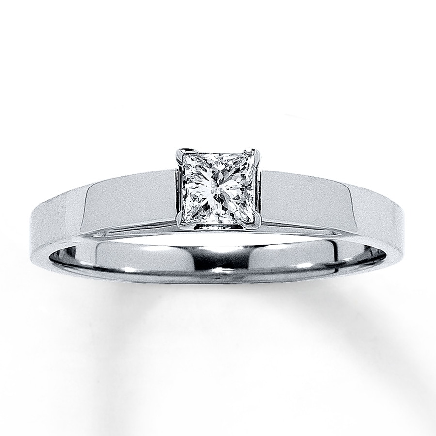 7ba8f8243 14K White Gold 1/4 Carat Princess-Cut Diamond Solitaire. Tap to expand